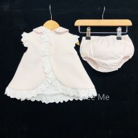 *SALE* Gorgeous Baby Girl Pink Spanish Open Back Dress & Pants Set Lace Trimming